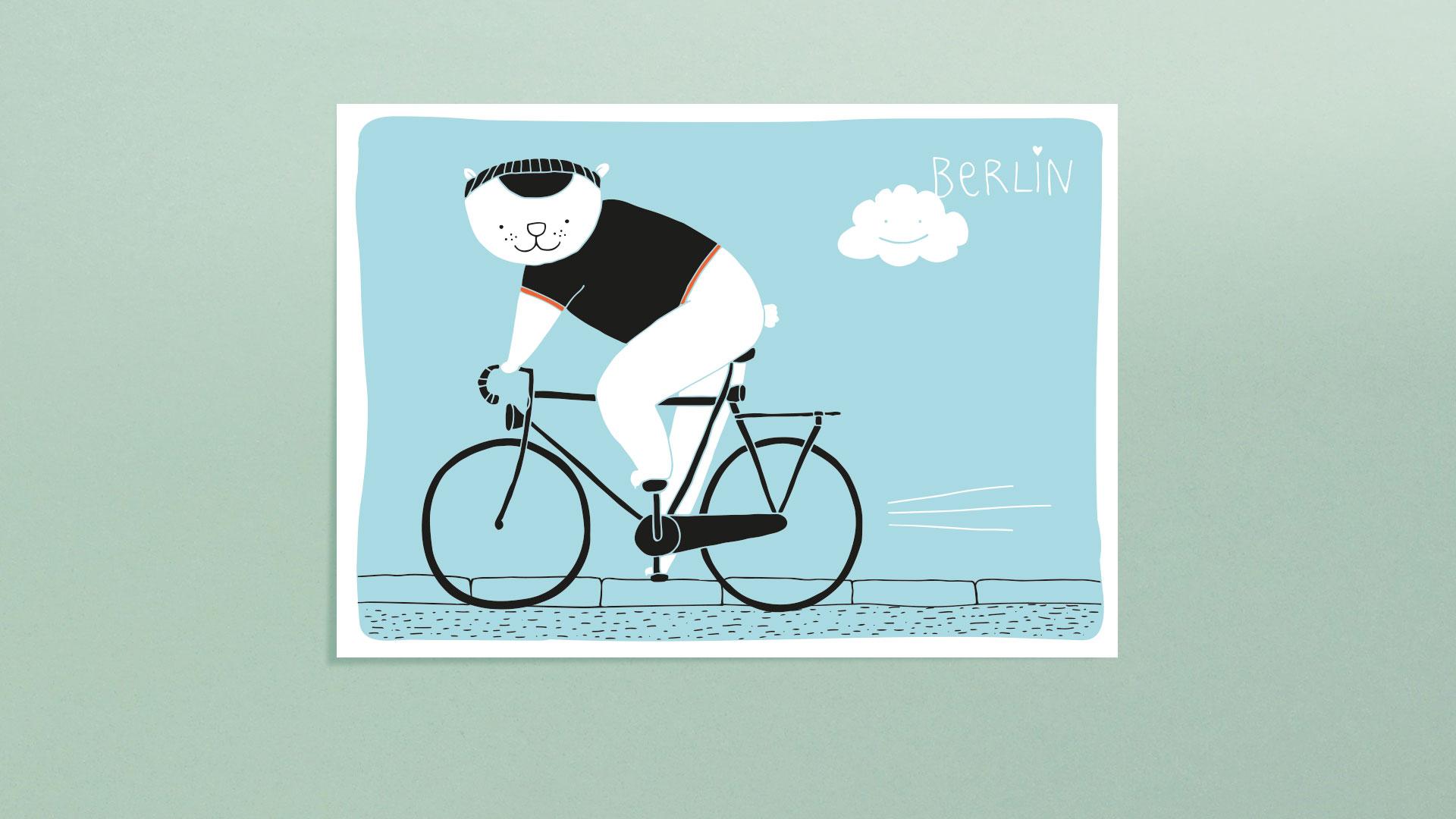Berlin Postkarten - Bär auf Fahrrad