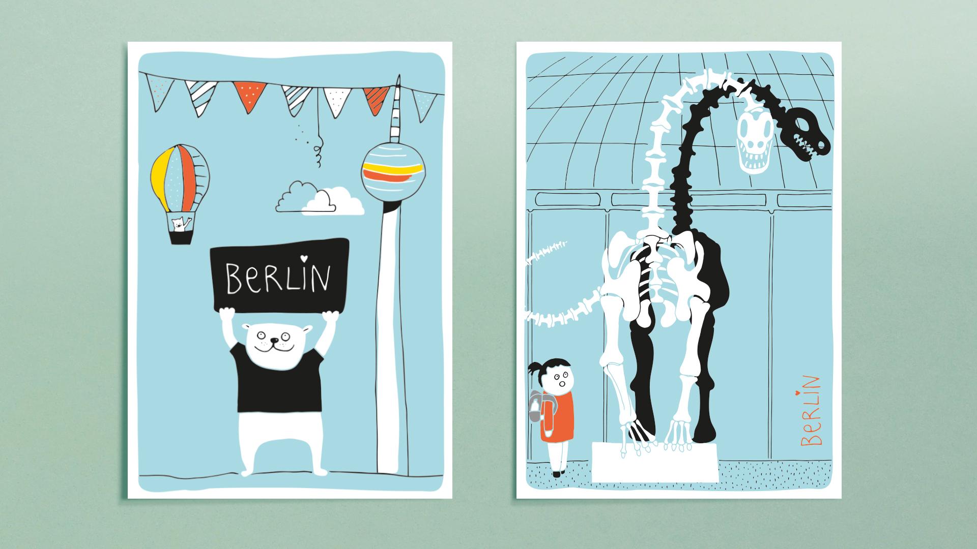 Berlin Postkarten - Bär und Naturkundemuseum