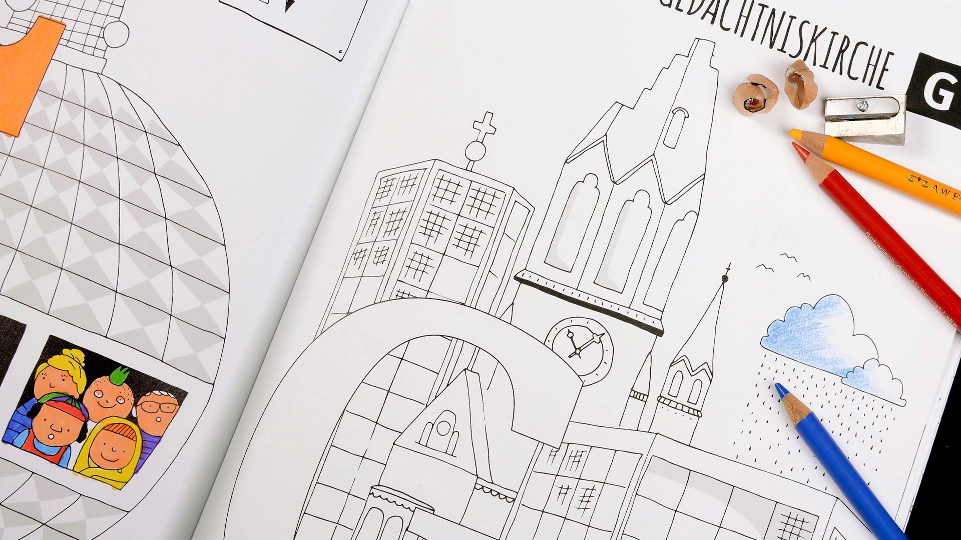 Berlin ABC Malbuch | Gedächniskirche zum Ausmalen