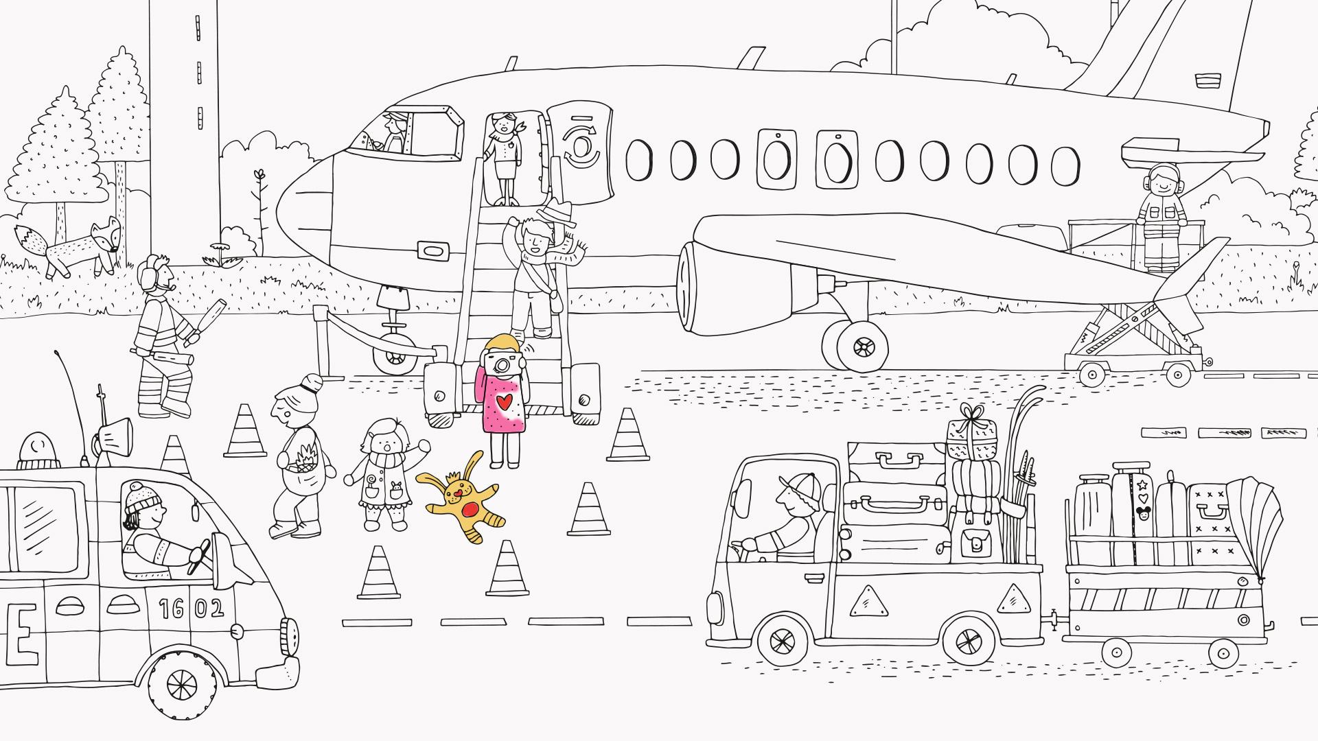 Illustration publicgarden | FBB: Ausmalposter für Kinder