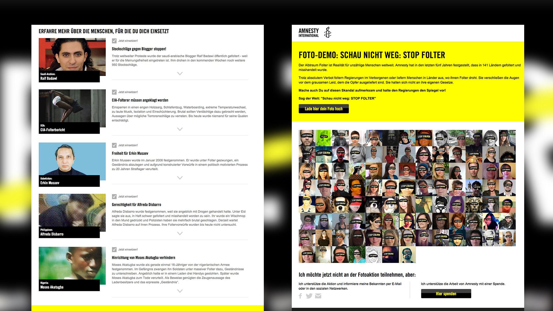 Kampagnenübersicht auf der Webseite