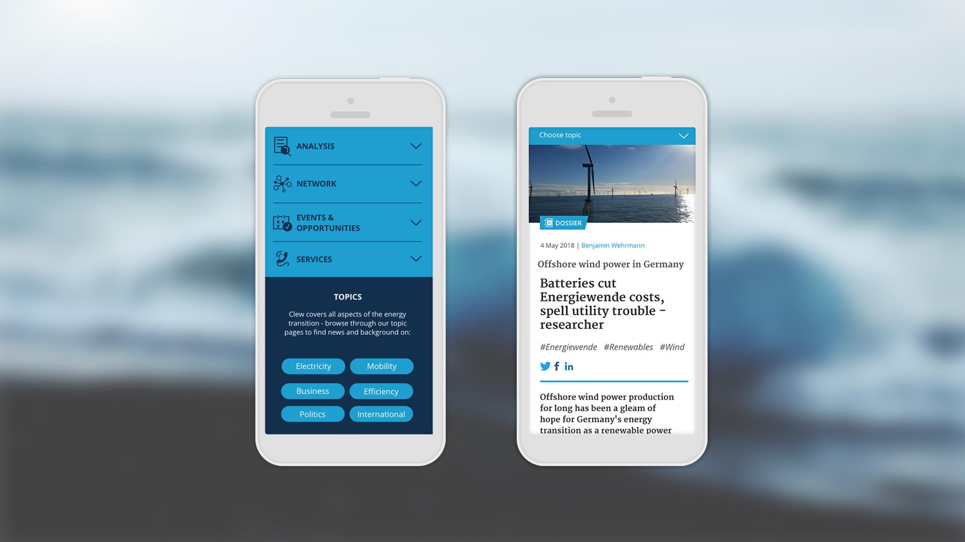 CLEW | Responsive Webdesign mit Smartphone Ansicht