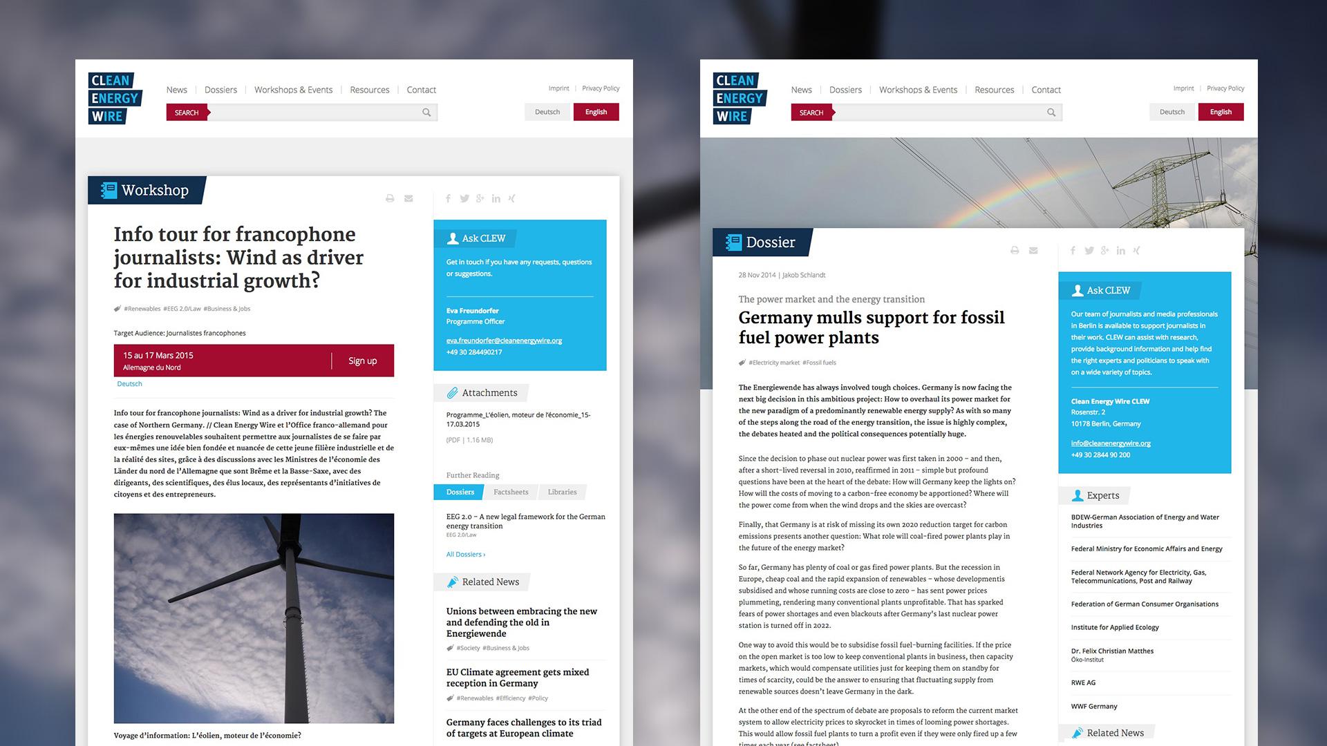 Unterseiten des Webprojektes