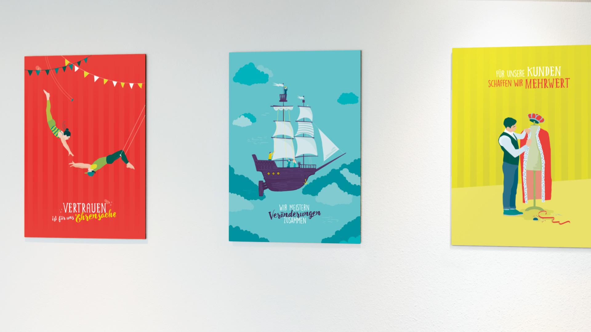 Leitbild-Illustration proventis | Vertrauen, Veränderungen, Mehrwert für Kunden