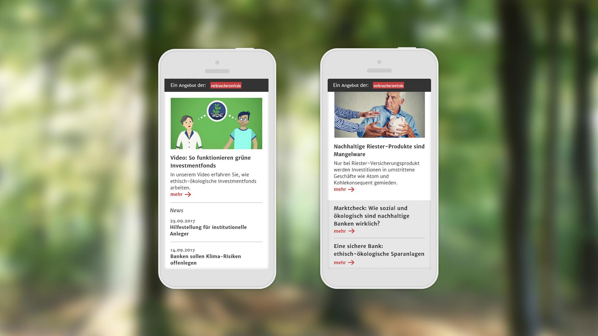 Microsite für Verbraucherzentrale Bremen | Mobile Ansicht