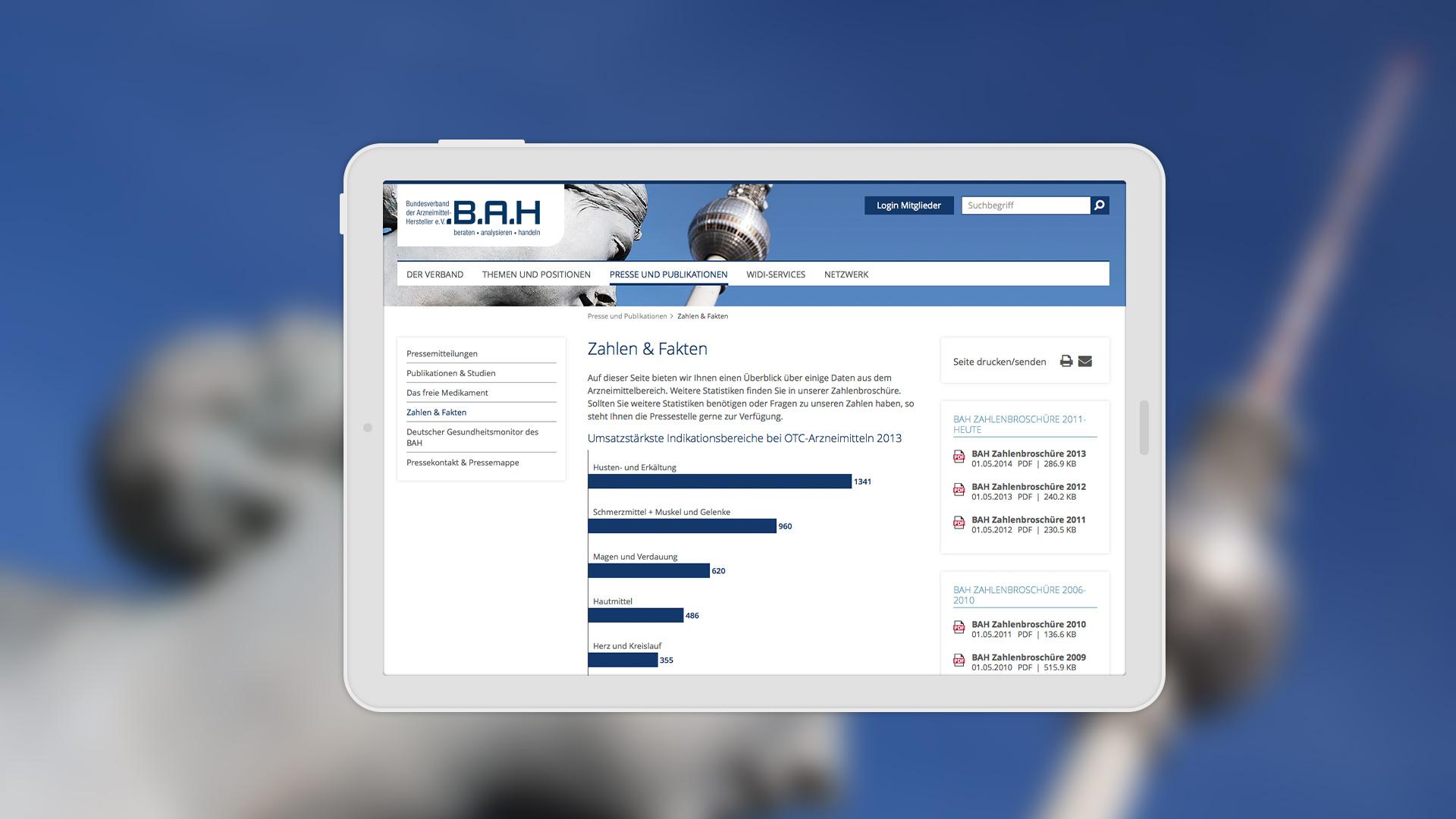 Dank Responsive Webdesign wird die Webseite auch auf Tabletgeräten optimal angezeigt