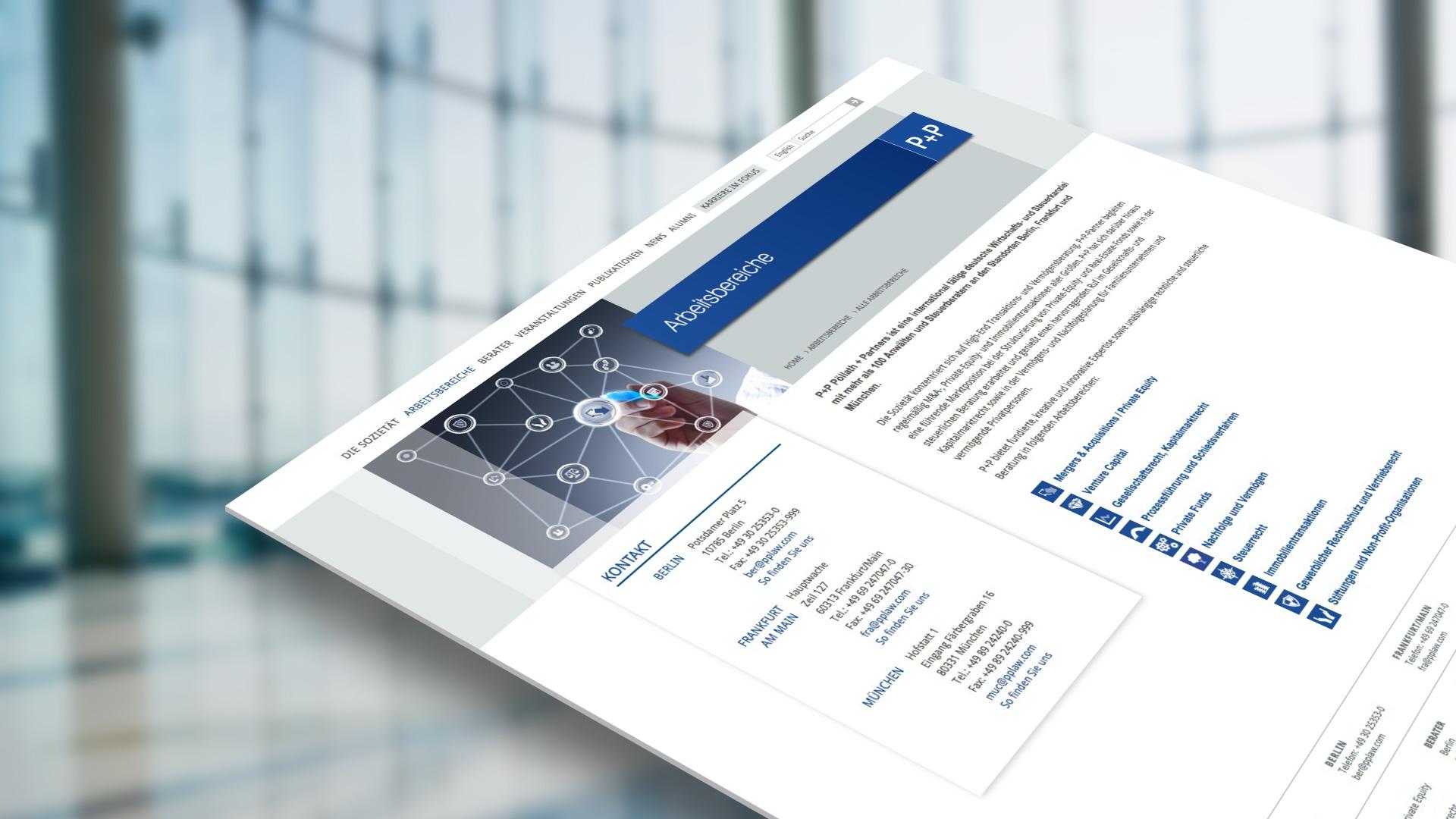 Einzelseite des Webprojektes