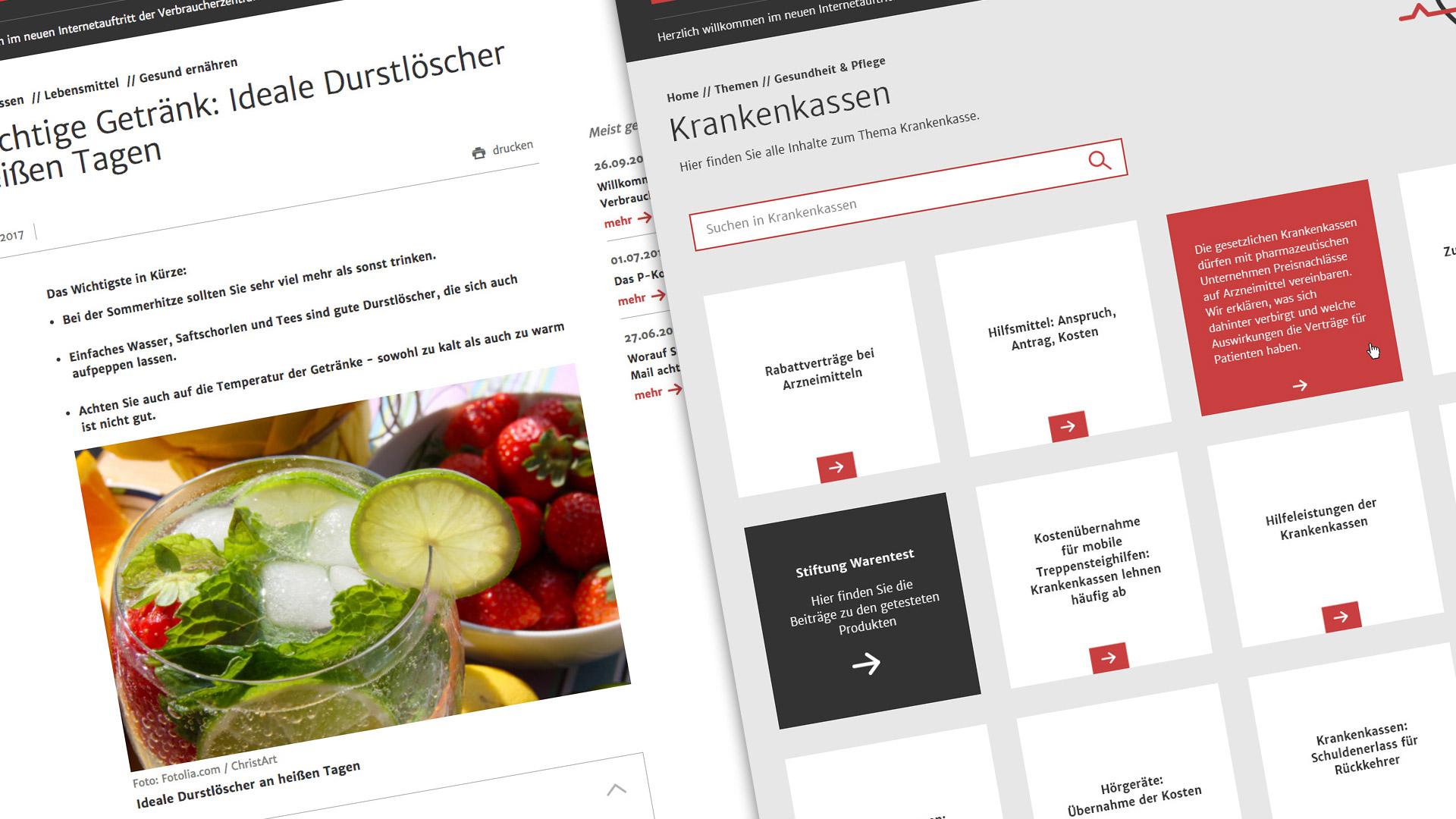 Webdesign für Verbraucherzentralen | Themenseiten