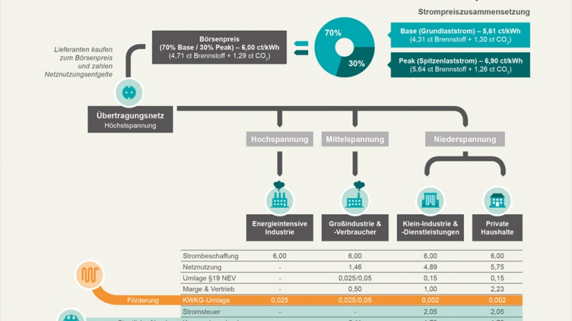 Konzeption und Gestaltung Infografiken (Strompreiszusammensetzung ©publicgarden für WWF)