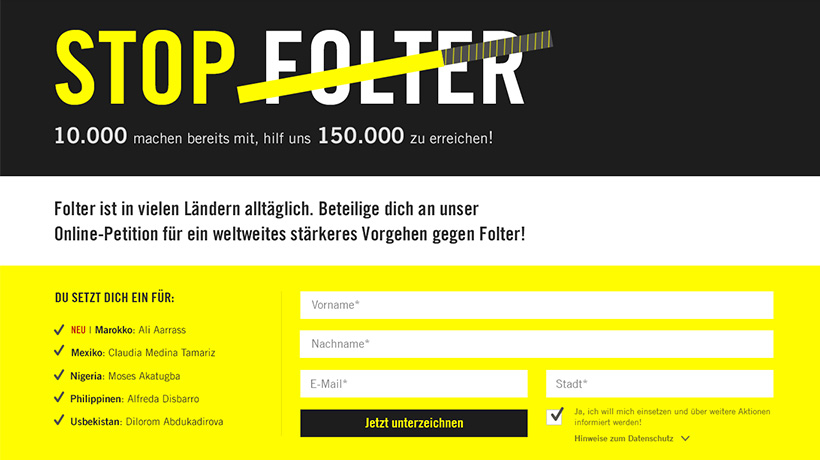 "Screen Amnesty Kampagne ""Stop Folter"""